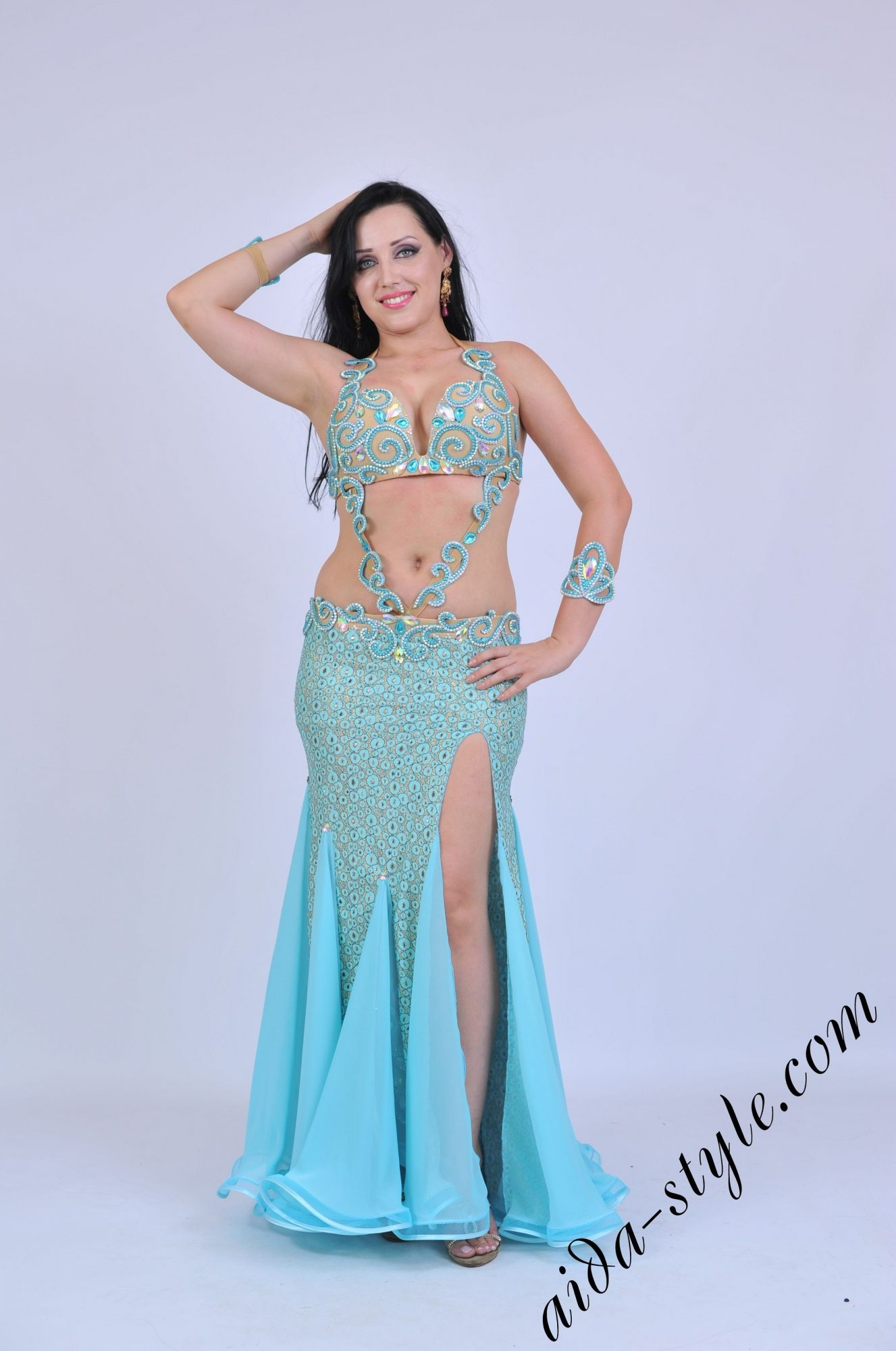 Light blue belly dancer costume with belly decoration