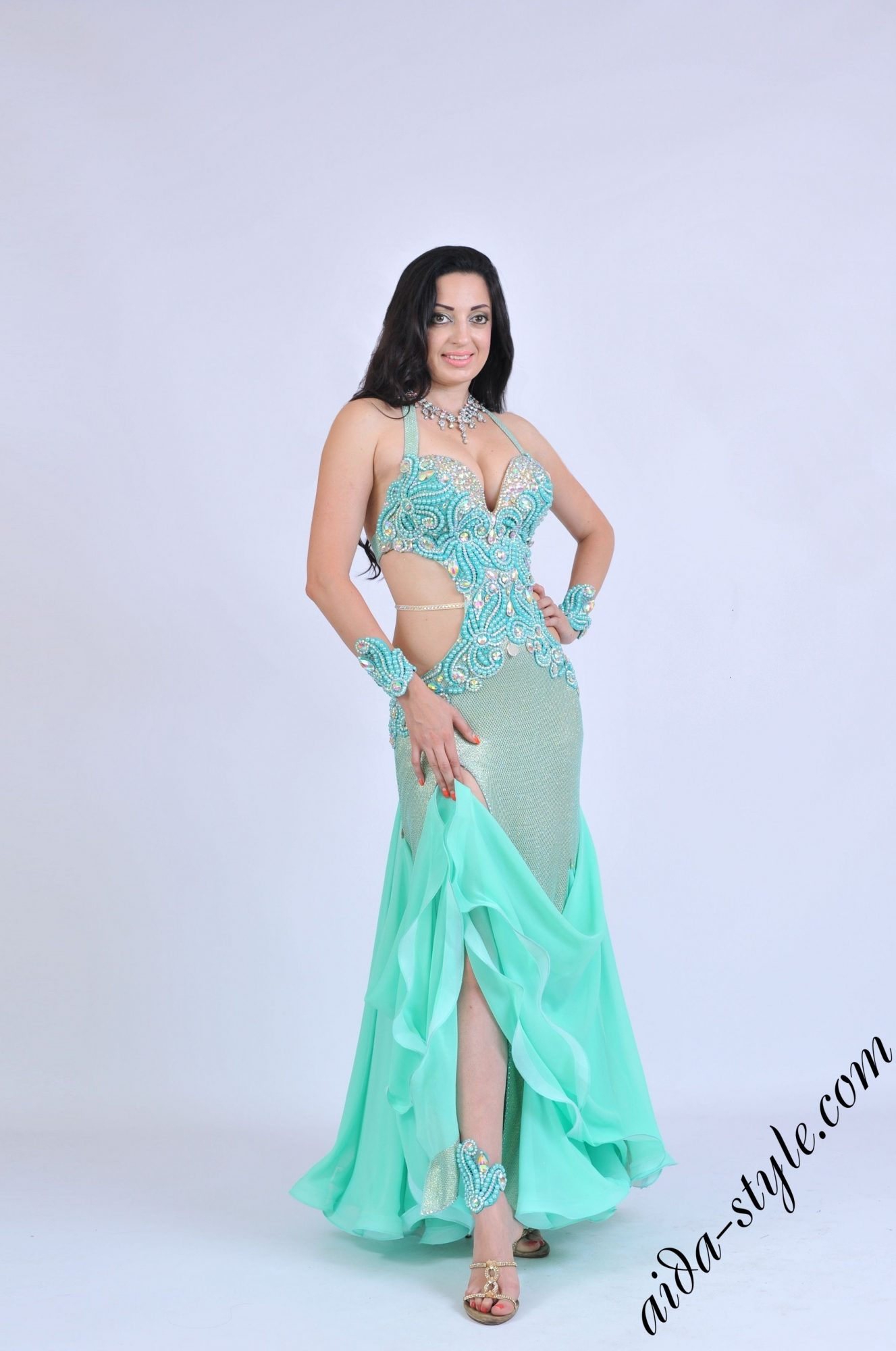 Mint Aida bellydance dress with mermaid skirt