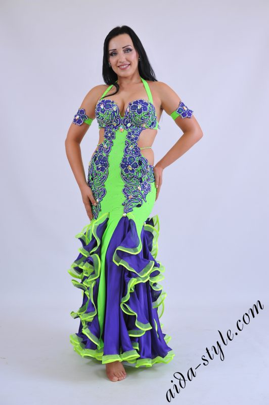 Professional belly dance dress with skin tight skirt with frills