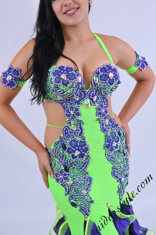 Professional belly dance dress with purple lace decoration