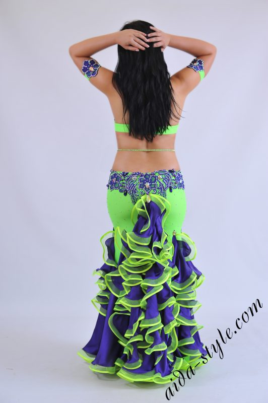 Professional belly dance dress with skin tight skirt with sexy tail at the back