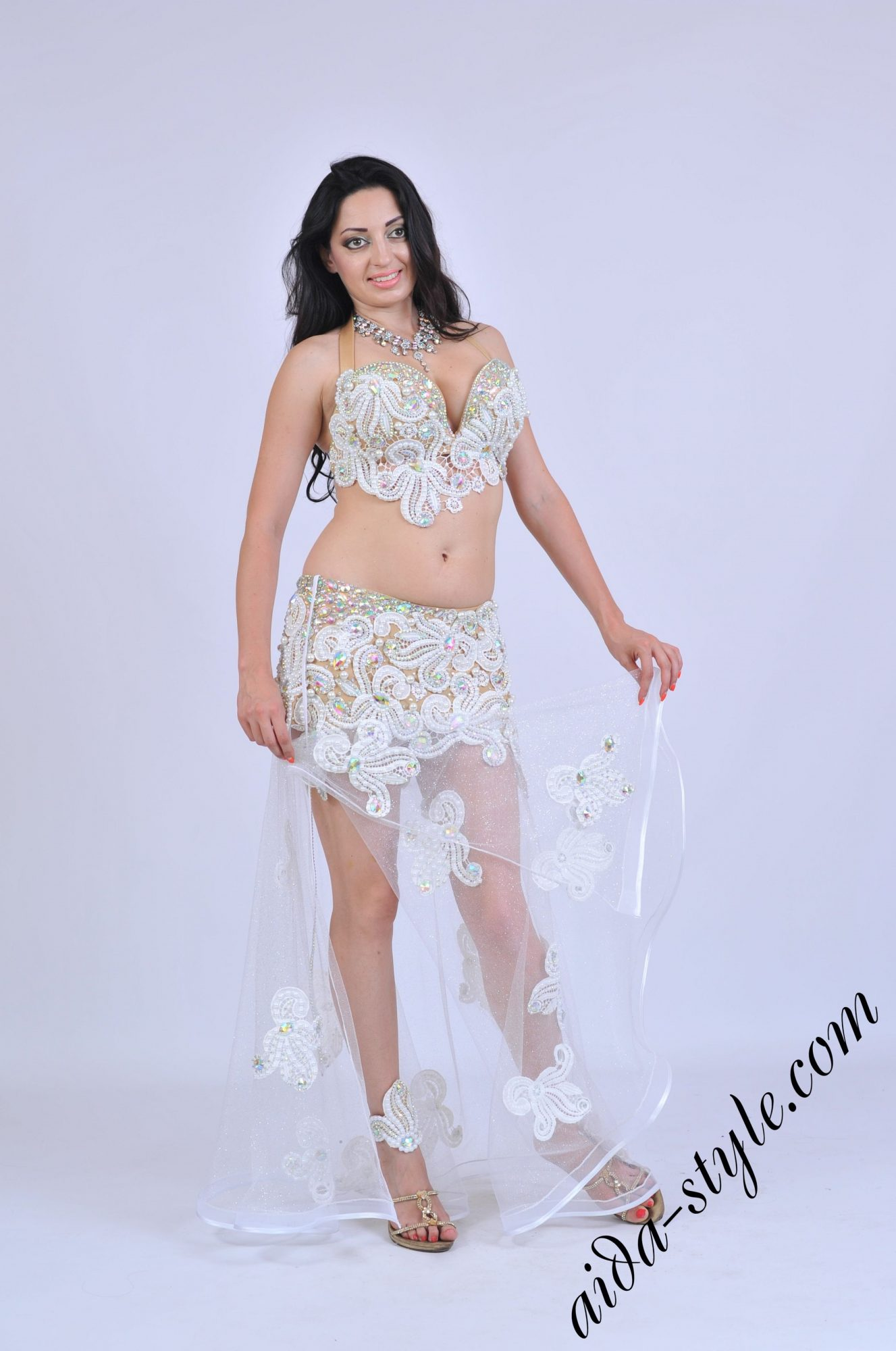 Sexy white belly dance costume macrame lace patterns