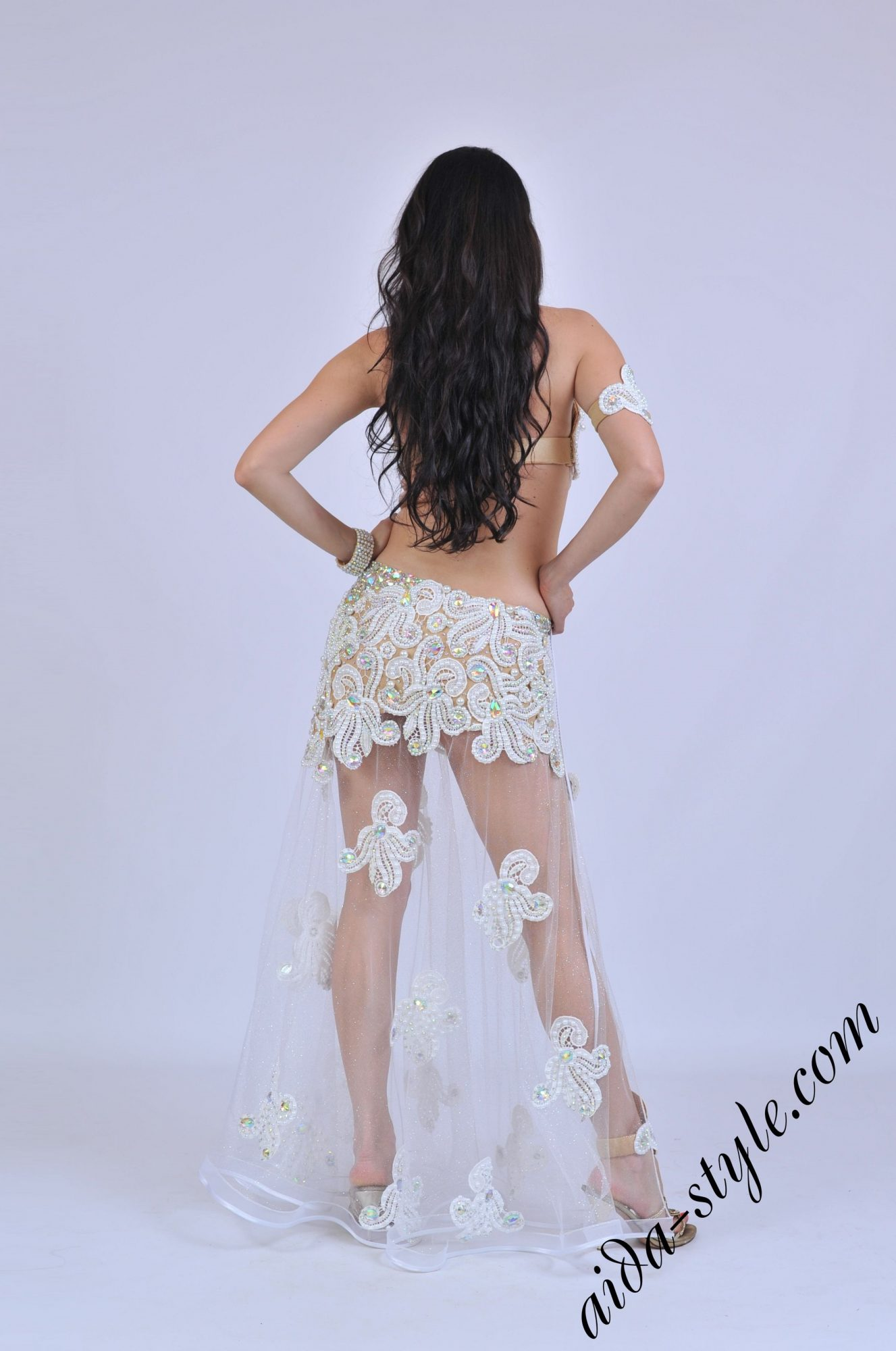 White belly dance costume with sexy skirt - back view