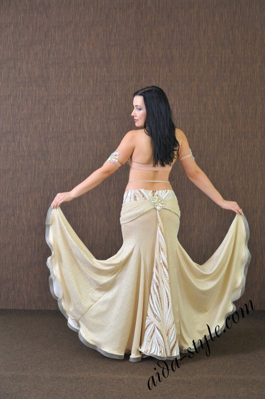 Elegant assymetric silhouette of Belly Dance Dress by Olga Aida