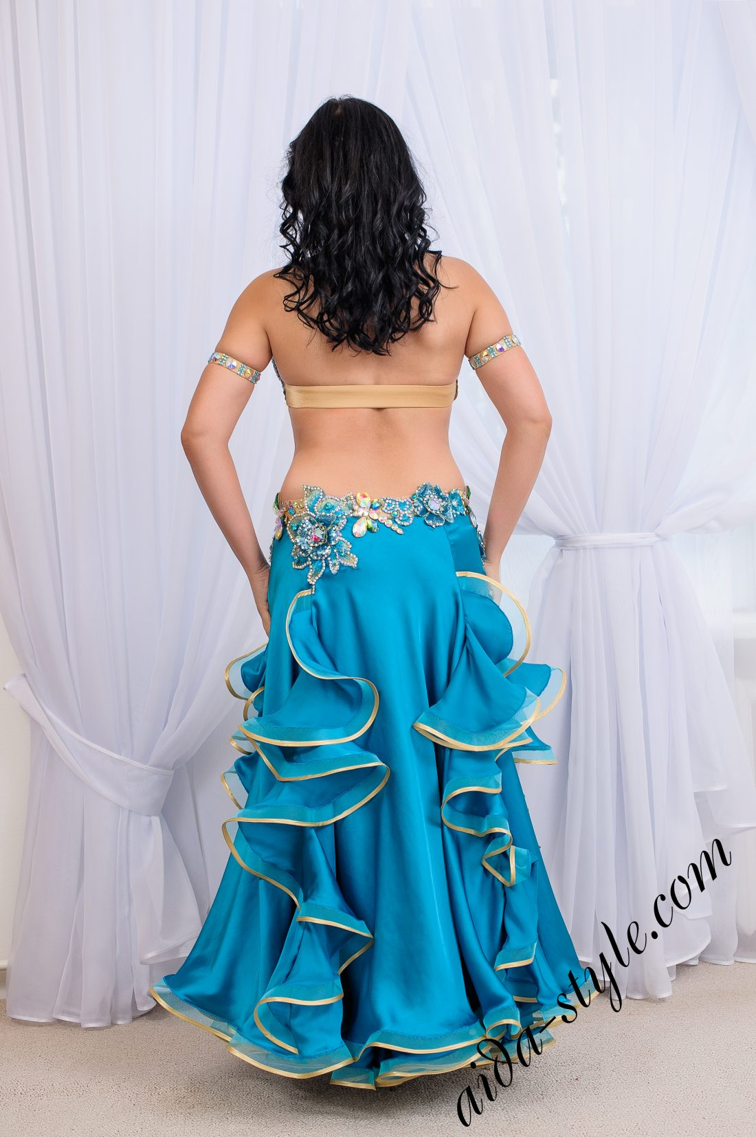 blue full costume for belly dancing with flare double skirt by Aida Style