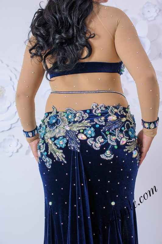 Deep blue oriental outfit by Olga Aida in large size - back close up