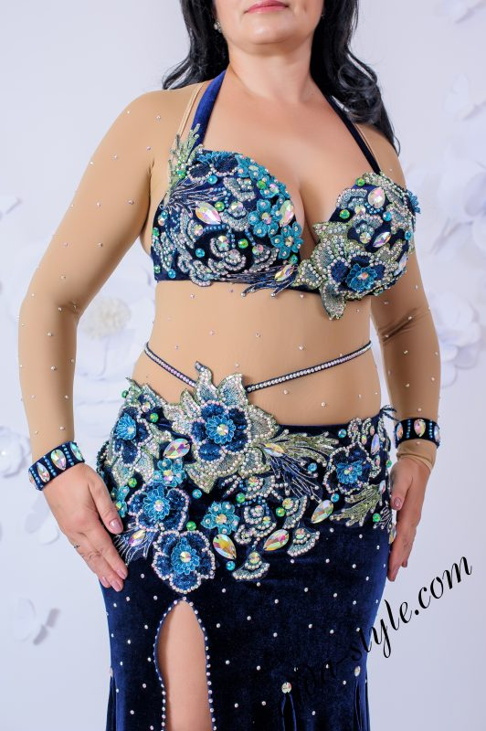 Deep blue oriental outfit by Olga Aida in large size - front close up