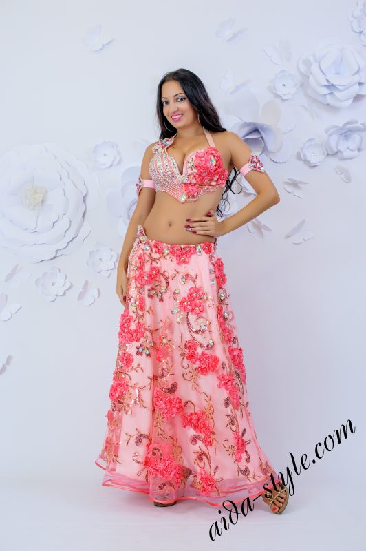 Belly dance dress by Olga Aida Pink Roses