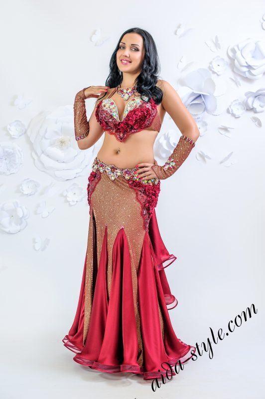 Bordo belly dance costume by Olga Aida
