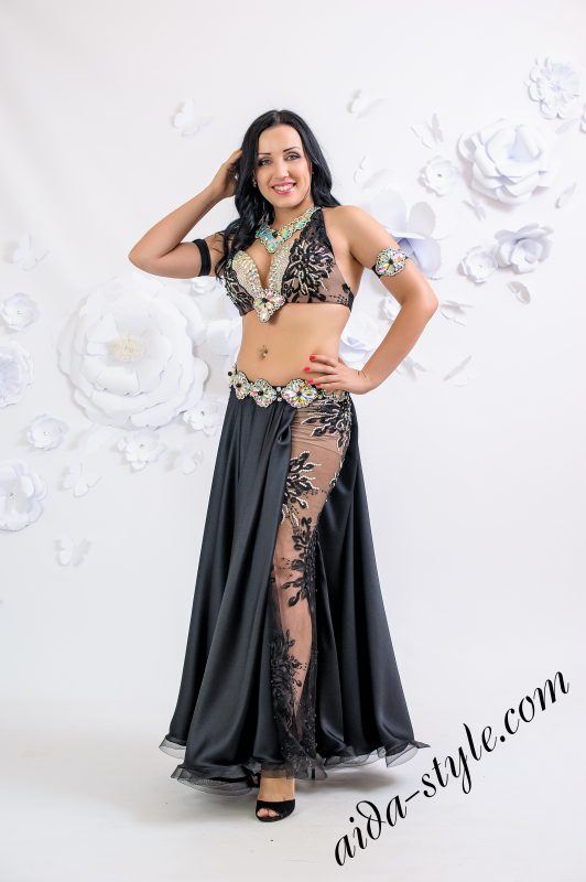 Black lace belly dance costume by Olga Aida