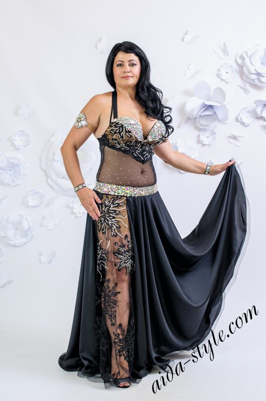 Black lace belly dance costume by Olga Aida in XL size