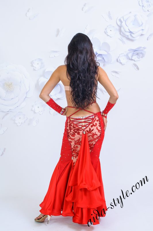 """Passionate Red"" mermaid belly dance dress by Olga Aida"
