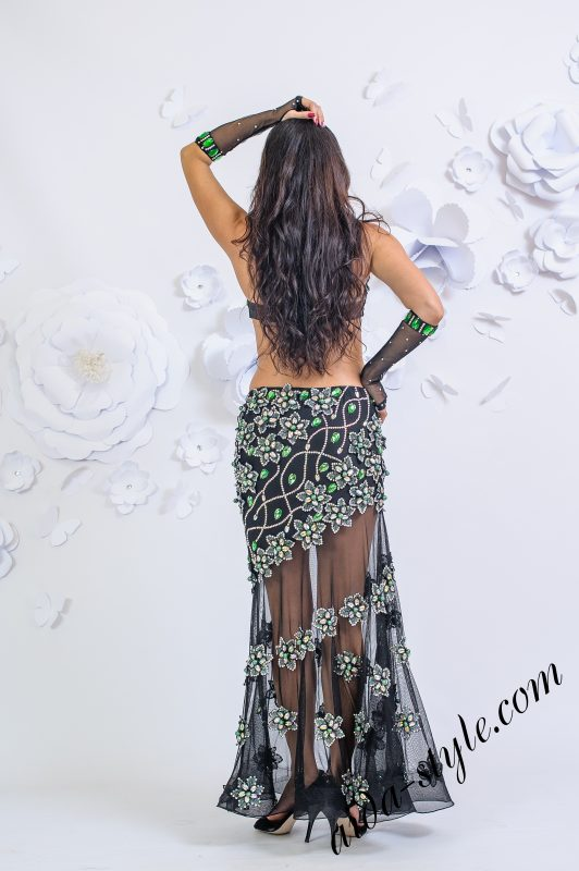 Exclusive belly dance dress by Olga Aida with volumatic 3d flowers from stones