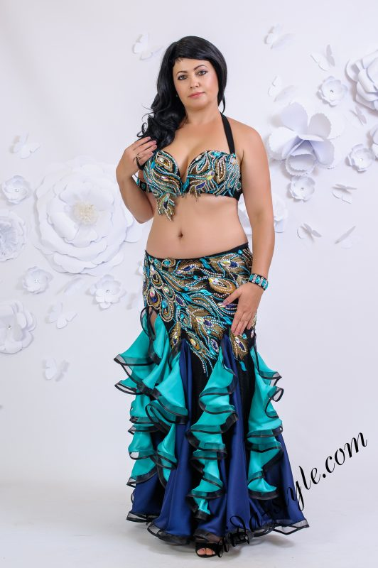 Black and turquoise Aida costume