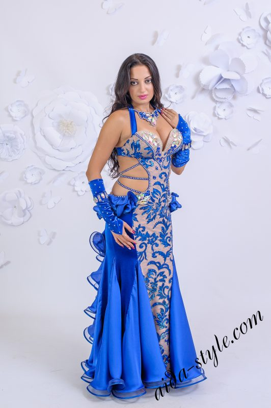 Beautiful blue belly dance dress by Olga Aida