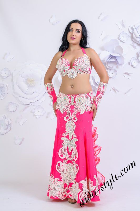 Pink & white Aida Style belly dance costume