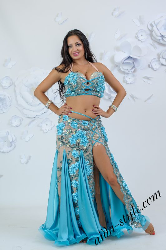 Aida costume with 3d light blue flowers