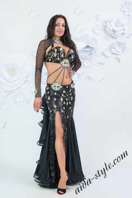Black mermaid belly dance costume by Olga Aida