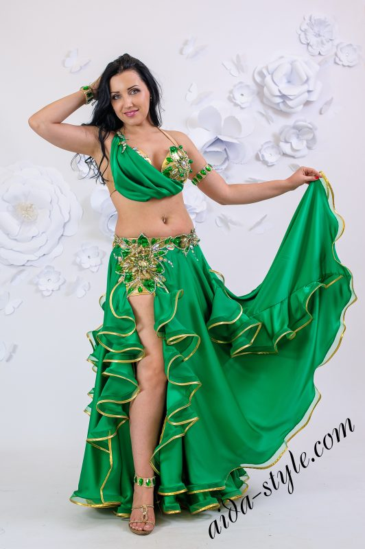 Emerald green Aida Style belly dance costume