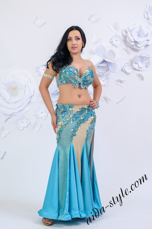 Light blue and gold Aida Style belly dance costume