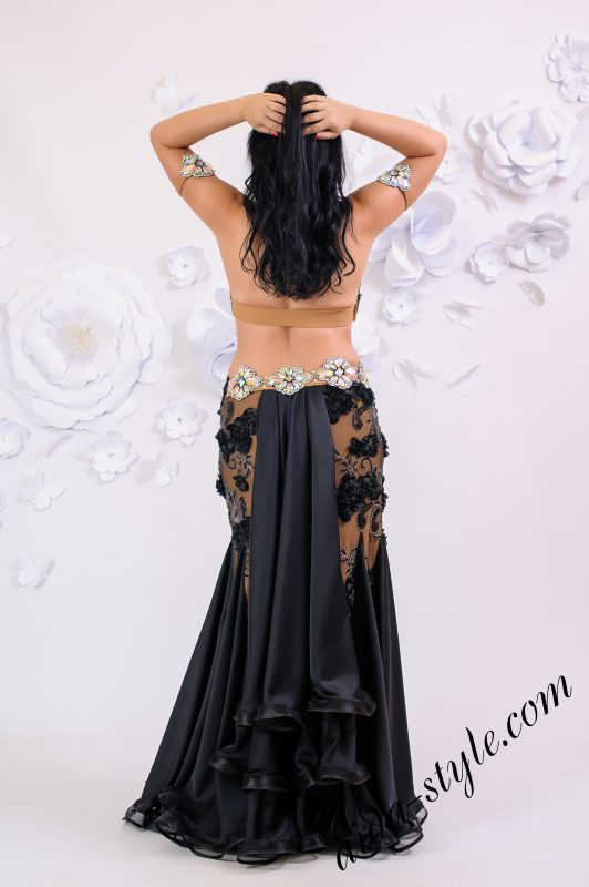 Black belly dance design by Aida Style boutique with 3D volumatic flowers