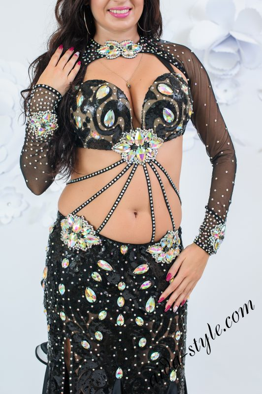 Black mermaid belly dance costume by Olga Aida front close up