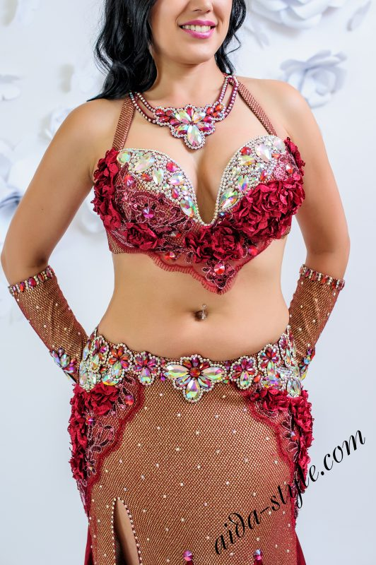 Bordo belly dance costume by Olga Aida - front close up
