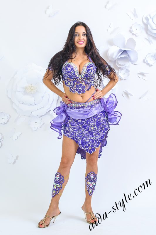 Purple belly dance costume with mini skirt by Olga Aida