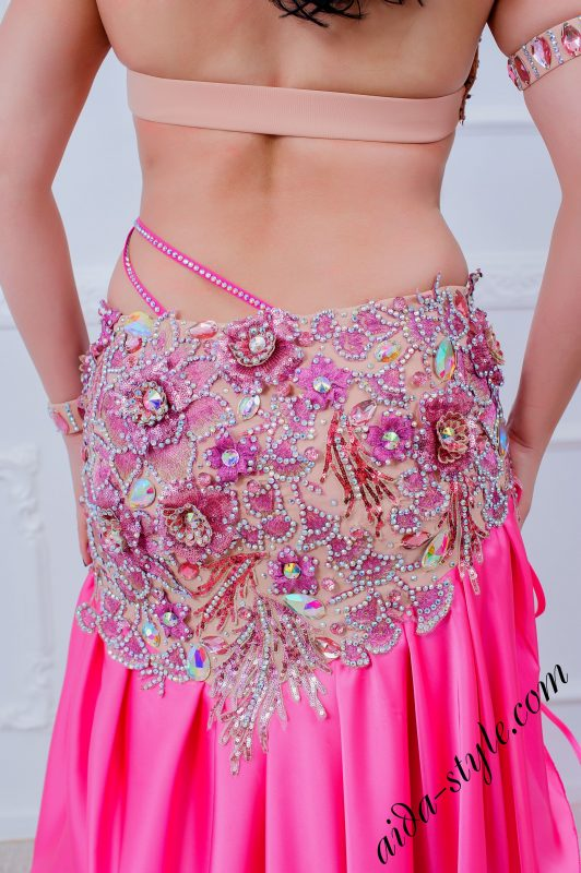 pink designer belly dance costume by aida