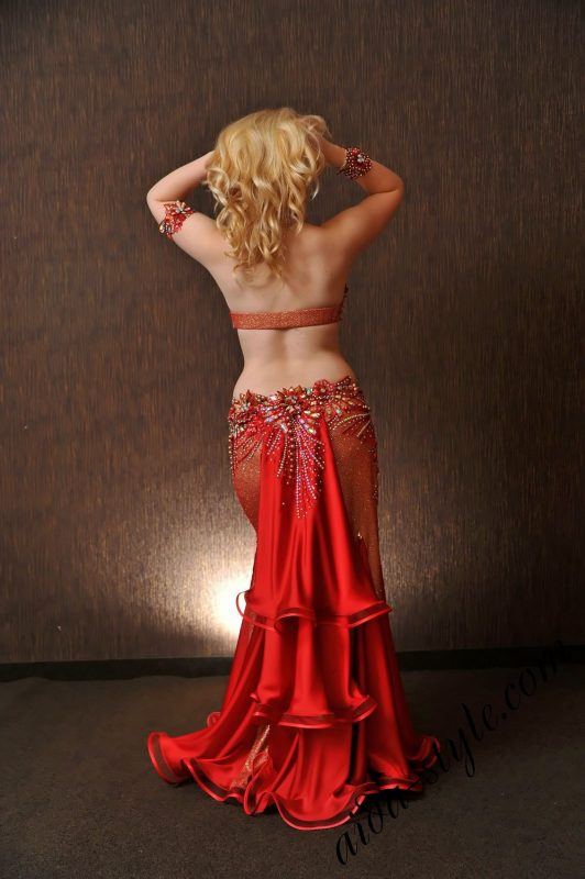golden red belly dance costume by olga aida