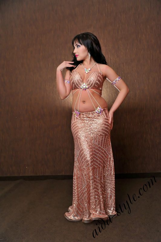Aida Style belly dance outfit in pink color