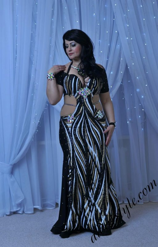 Multicolored enhancing dress for belly dance by Aida Style