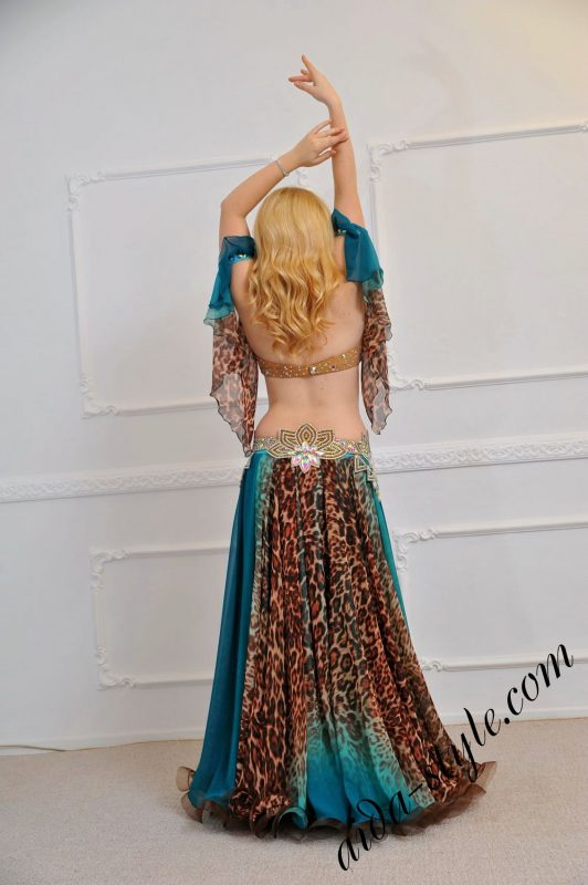Feminine and light belly dance outfit with animal pring and detachable belt, by designer Olga Aida