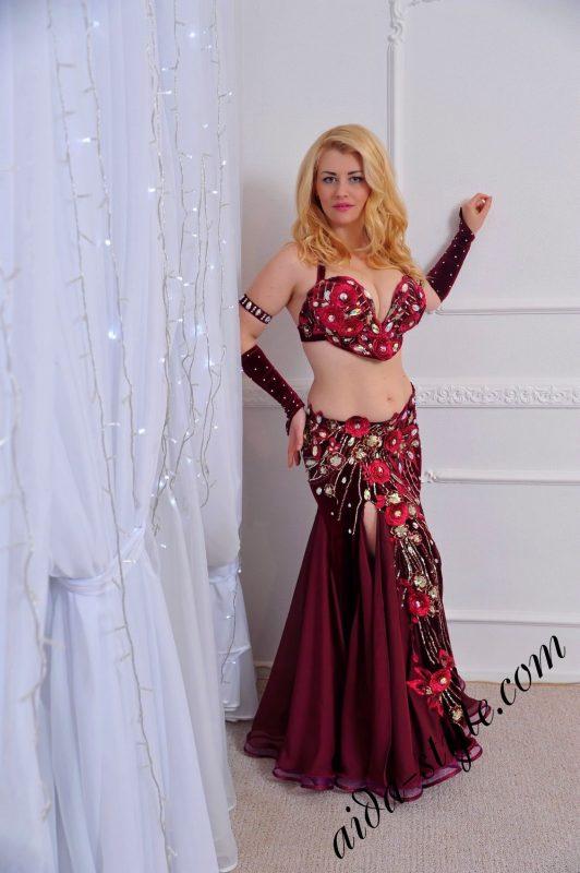 Rich bordo designer's belly dance costume by Olga Aida