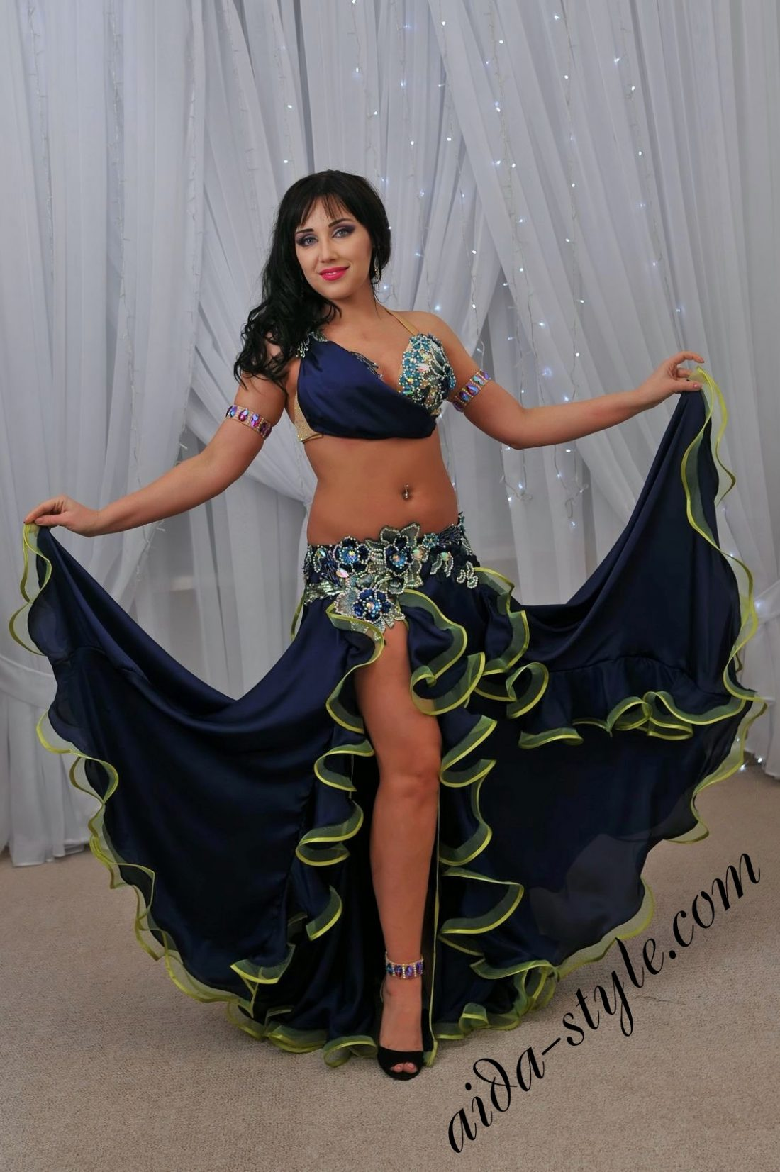 Dark blue and yellow designer's belly dance costume by Olga Aida