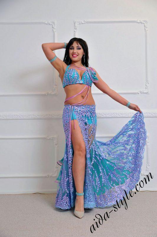 Blue and pink designer belly dance costume