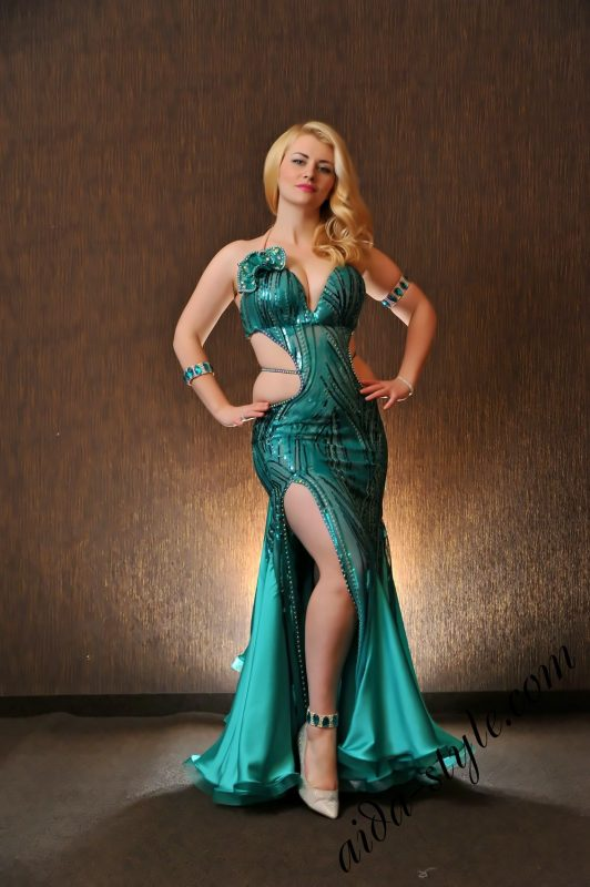 Turquoise dress by Olga Aida, sparkling