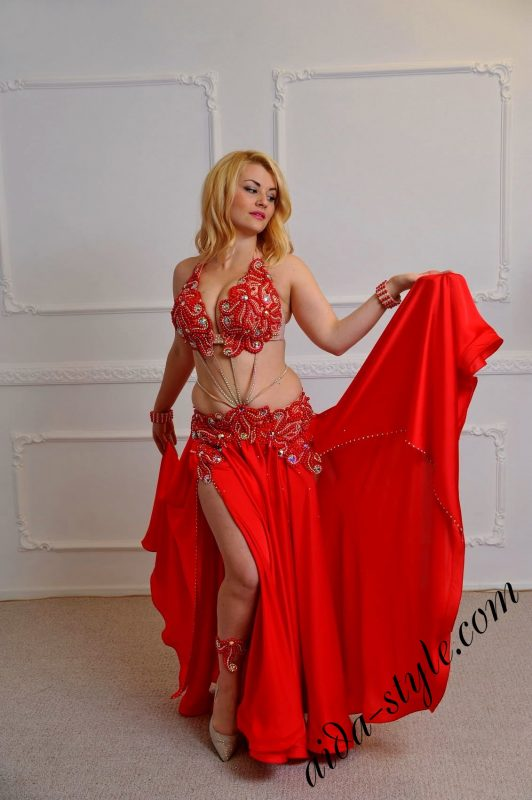 hot red designer's belly dance wear