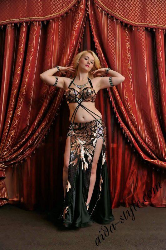 Golden and black designer's belly dance wear