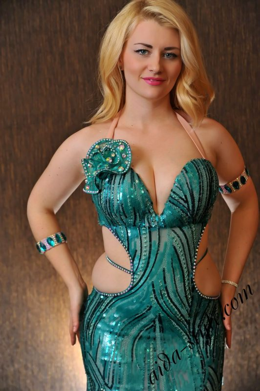 Turquoise dress by Olga Aida, sparkling