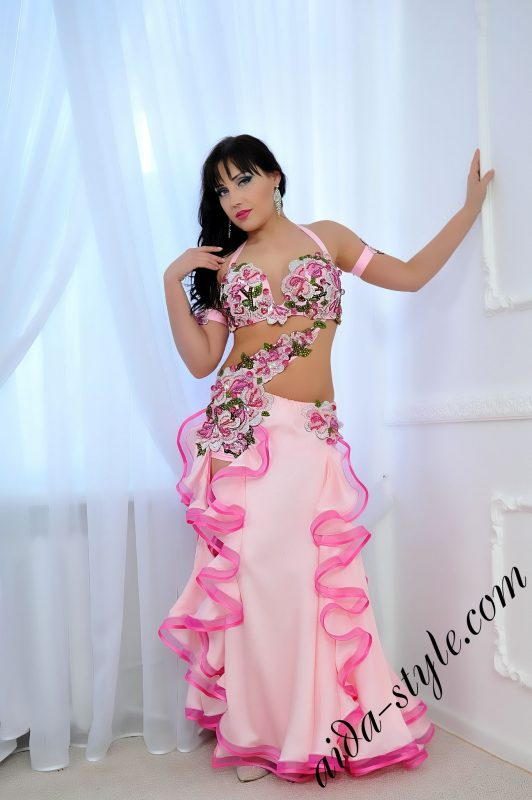 baby pink designer's pro belly dance costume by Aida Style, spring design