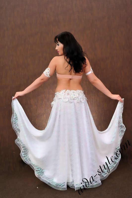 snow-white belly dance outfit by Aida Style with flare double layered skirt and charming lace decoration
