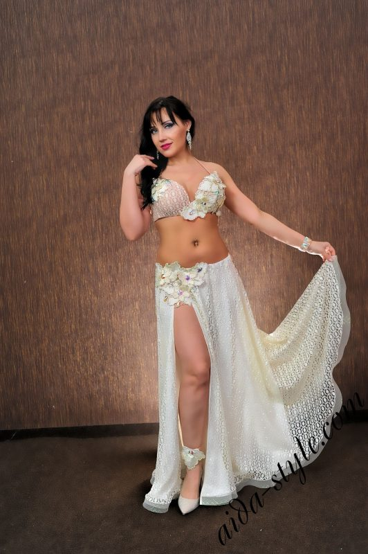 """designer's pro belly dance costume by Aida Style in """"dirty"""" white"""