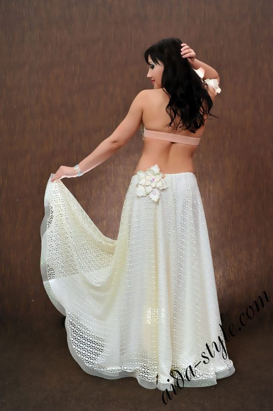 "designer's pro belly dance costume by Aida Style in ""dirty"" white"