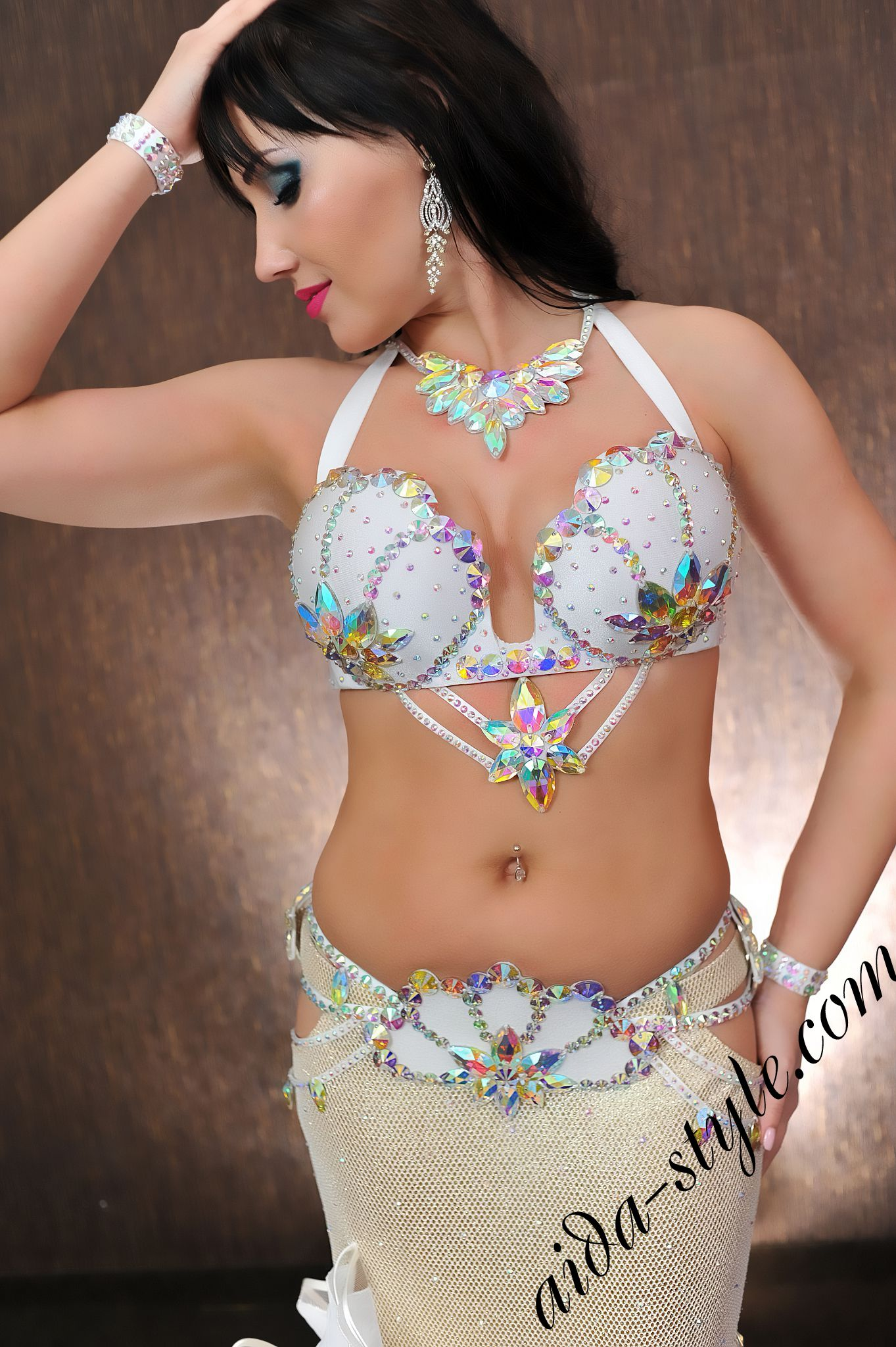 Pure white designer's pro belly dance set (bra and belt) by Aida Style