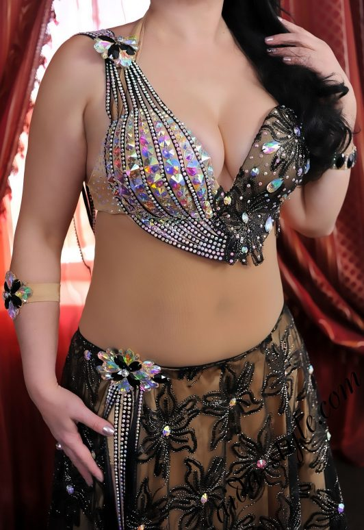 special edition: designer's pro belly dance costume by Aida Style in grey and gold with silver stripes