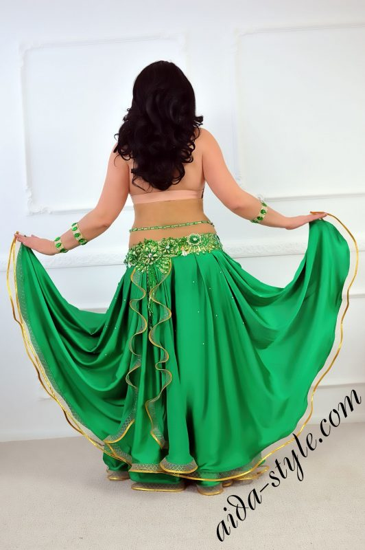 green designer's pro belly dance costume by Aida Style with flare skirt