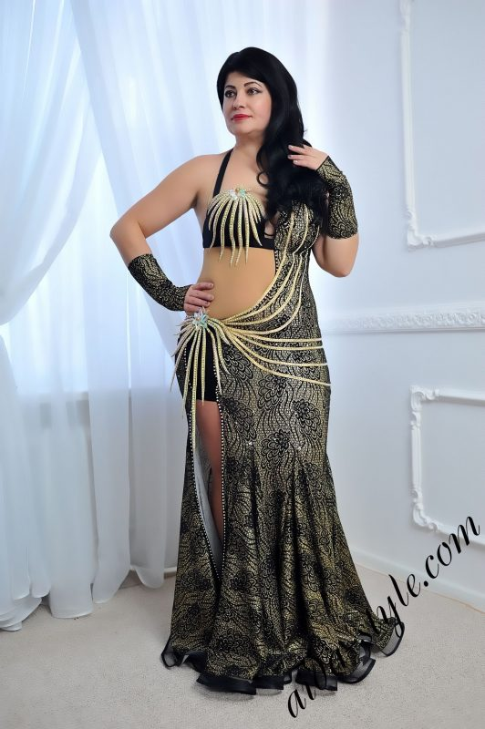 greyish and black belly dance dress by Aida Style with exclusive golden stripes for decoration and unique brooches
