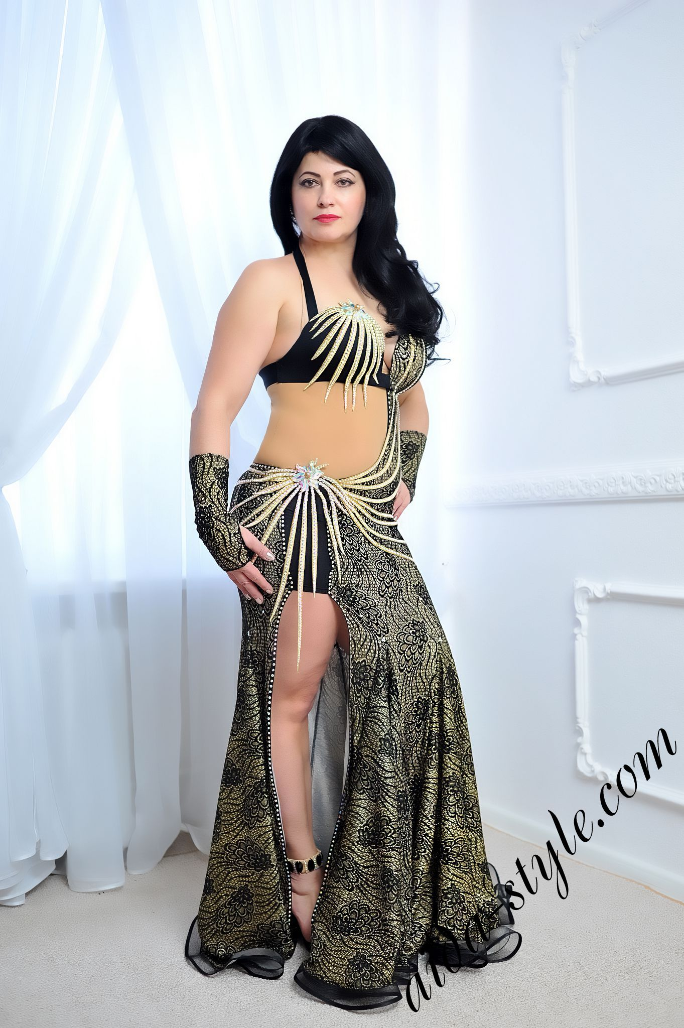 fe55fe6a795d greyish and black belly dance dress by Aida Style with exclusive golden  stripes for decoration and
