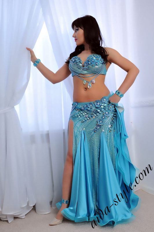 Beautiful azure blue belly dance costume by Aida Style